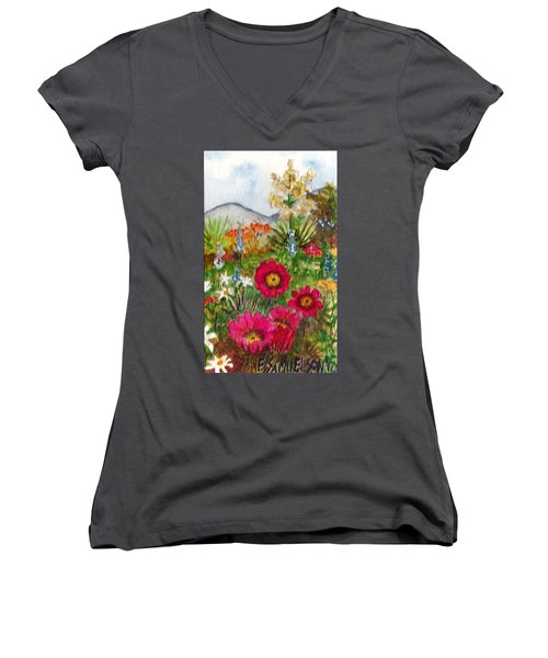 Women's V-Neck T-Shirt (Junior Cut) featuring the painting Desert Spring by Eric Samuelson