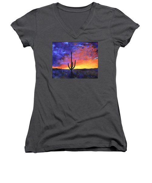 Desert Sunset 4 Women's V-Neck T-Shirt (Junior Cut) by M Diane Bonaparte