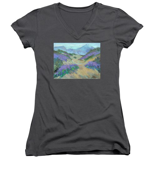 Women's V-Neck T-Shirt (Junior Cut) featuring the painting Desert Verbena by Diane McClary