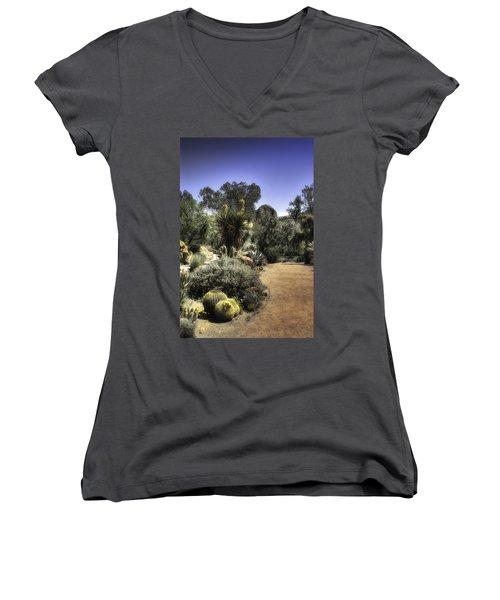 Women's V-Neck T-Shirt (Junior Cut) featuring the photograph Desert Walkway by Lynn Geoffroy