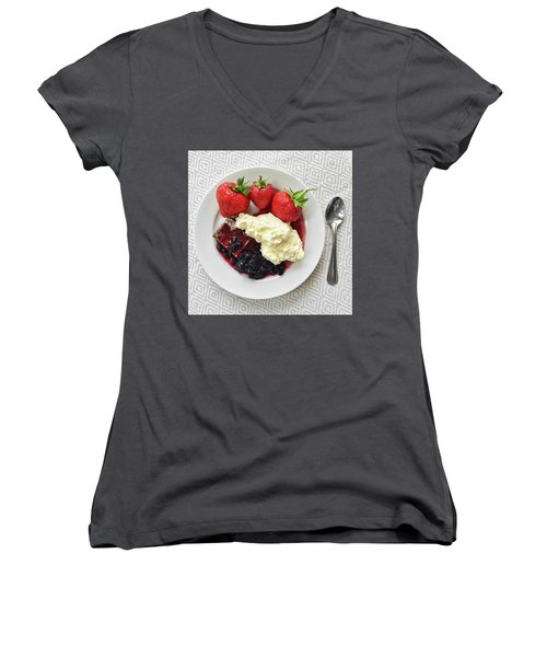 Dessert With Strawberries And Whipped Cream Women's V-Neck T-Shirt (Junior Cut) by GoodMood Art