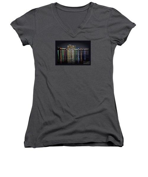 Destin Night Across The Estuary Women's V-Neck T-Shirt (Junior Cut) by Walt Foegelle