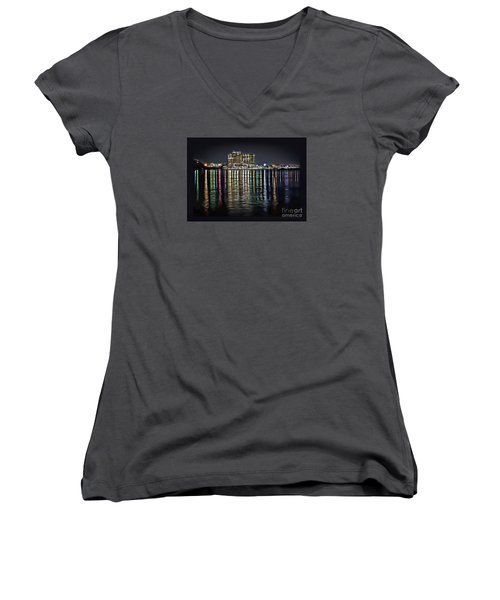 Destin Night Across The Estuary Women's V-Neck T-Shirt