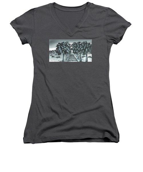 Destination 2 Women's V-Neck T-Shirt (Junior Cut) by Kenneth Clarke