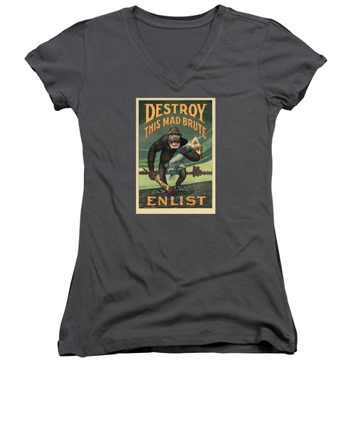 Destroy This Mad Brute - Wwi Army Recruiting  Women's V-Neck (Athletic Fit)