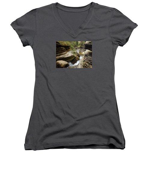 Devil's Bathtub Sd Women's V-Neck T-Shirt (Junior Cut) by James Peterson