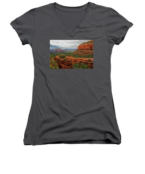 Women's V-Neck T-Shirt (Junior Cut) featuring the photograph Devil's Bridge by Tom Kelly