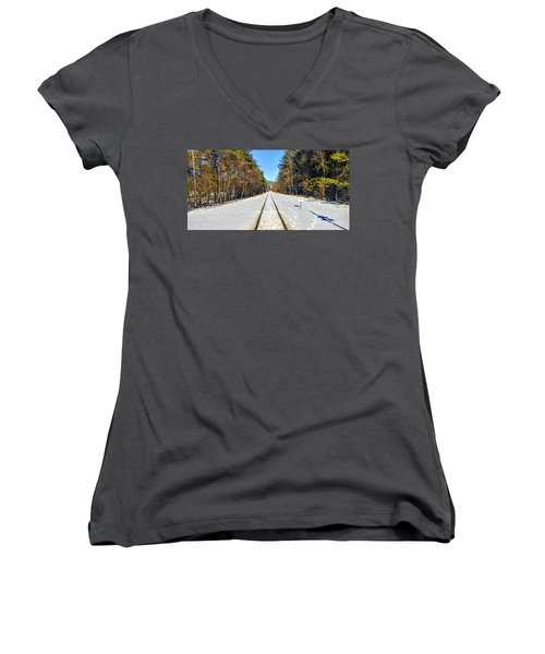 Women's V-Neck T-Shirt featuring the photograph Devil's Lake Railroad by Ricky L Jones