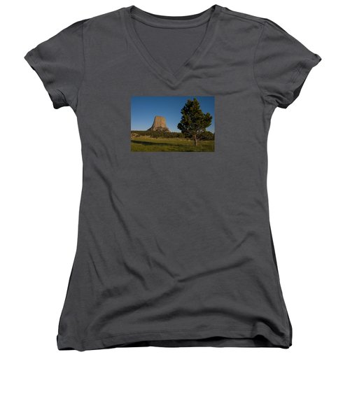 Women's V-Neck T-Shirt (Junior Cut) featuring the photograph Devil's Tower by Gary Lengyel