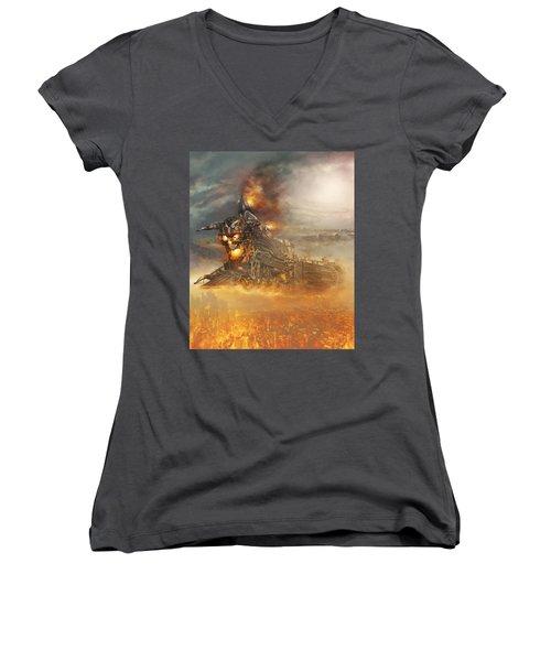 Devils Train 2 Women's V-Neck T-Shirt