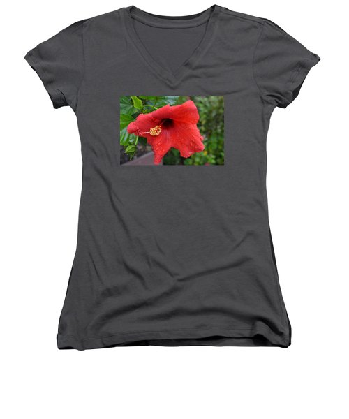 Dew On Flower Women's V-Neck (Athletic Fit)