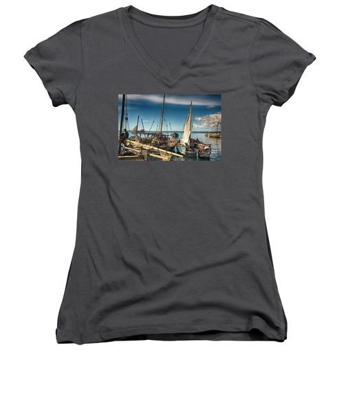 Dhow Sailing Boat Women's V-Neck T-Shirt (Junior Cut) by Amyn Nasser
