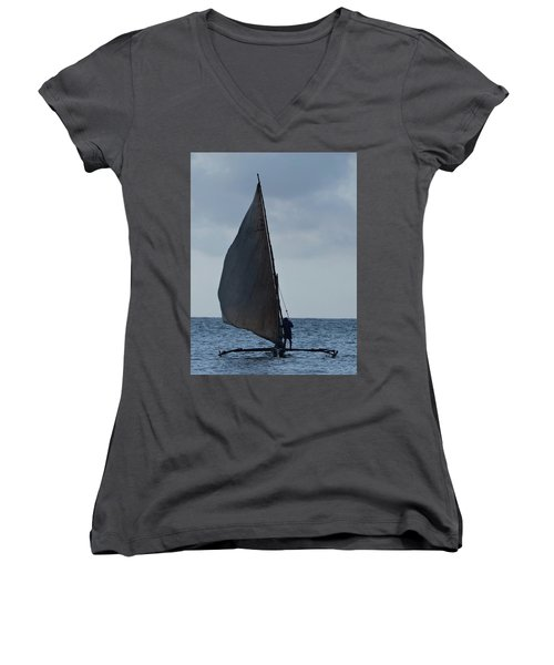 Dhow Wooden Boats In Sail Women's V-Neck T-Shirt (Junior Cut) by Exploramum Exploramum