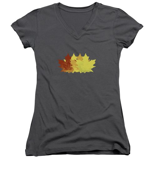Diagonal Leaf Pattern Women's V-Neck T-Shirt (Junior Cut) by Methune Hively