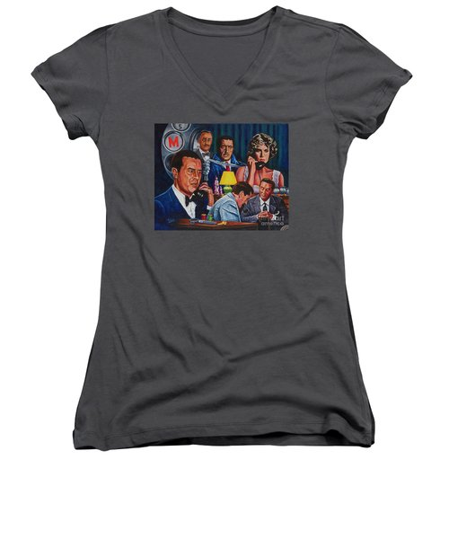 Women's V-Neck T-Shirt (Junior Cut) featuring the painting Dial M For Murder by Michael Frank