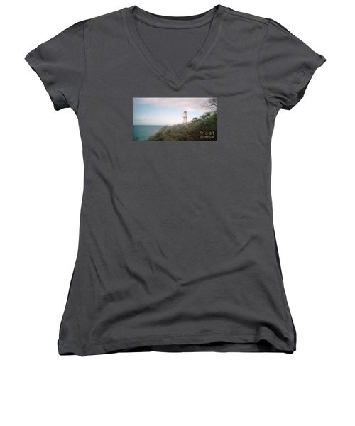 Diamond Head Light House Women's V-Neck T-Shirt (Junior Cut) by Ted Pollard