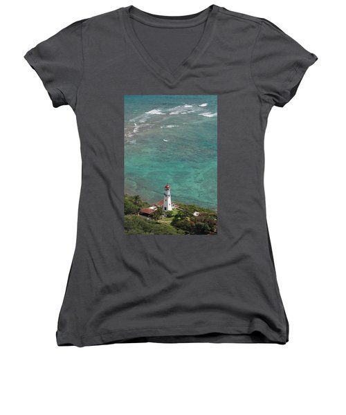 Diamond Head Lighthouse 3 Women's V-Neck (Athletic Fit)