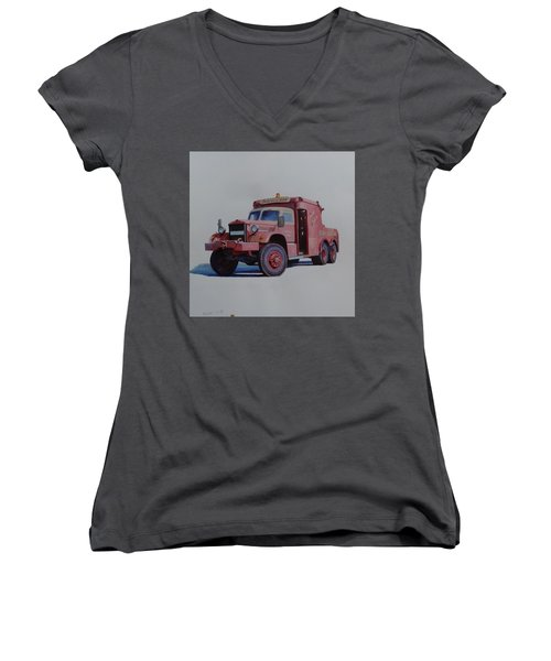Women's V-Neck T-Shirt (Junior Cut) featuring the painting Diamond T Wrecker. by Mike Jeffries