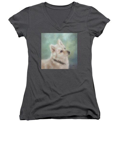 Diamond, The White Shepherd Women's V-Neck T-Shirt