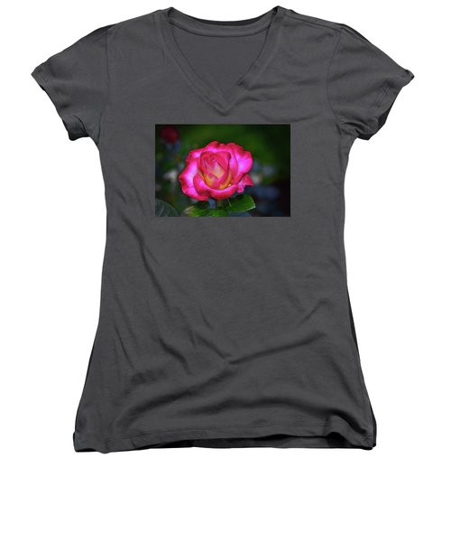 Dick Clark Rose 002 Women's V-Neck T-Shirt (Junior Cut) by George Bostian