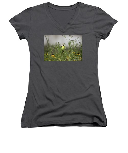 Women's V-Neck T-Shirt (Junior Cut) featuring the photograph Dickcissel With Mexican Hat by Robert Frederick
