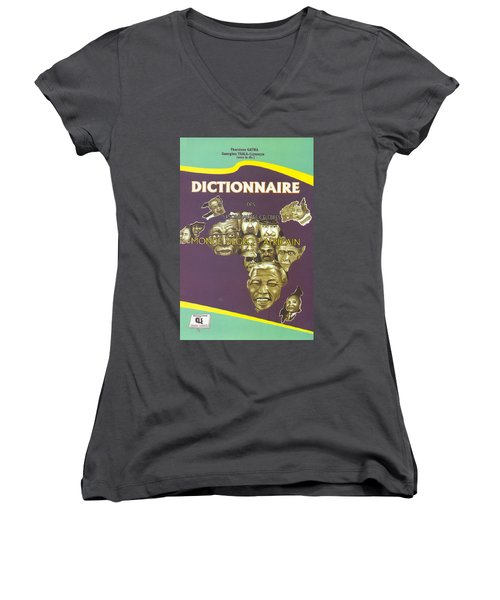 Women's V-Neck T-Shirt (Junior Cut) featuring the painting Dictionary Of Negroafrican Celebrities 1 by Emmanuel Baliyanga
