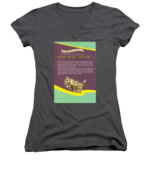 Women's V-Neck T-Shirt (Junior Cut) featuring the painting Dictionary Of Negroafrican Celebrities 2 by Emmanuel Baliyanga