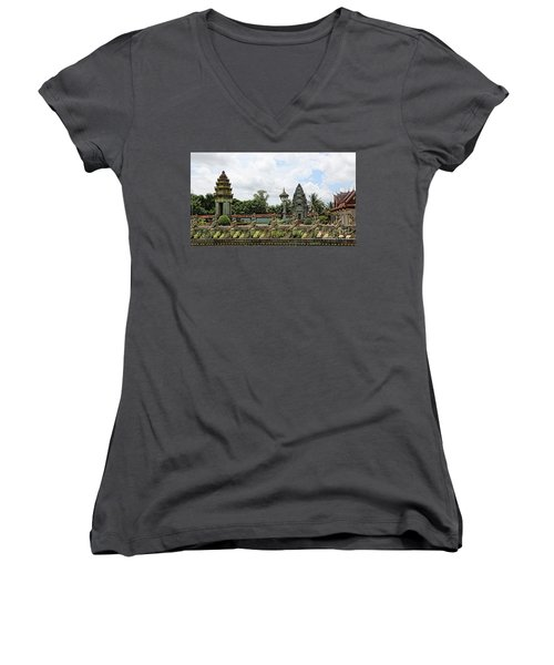 Digital Cambodia Architecture  Women's V-Neck