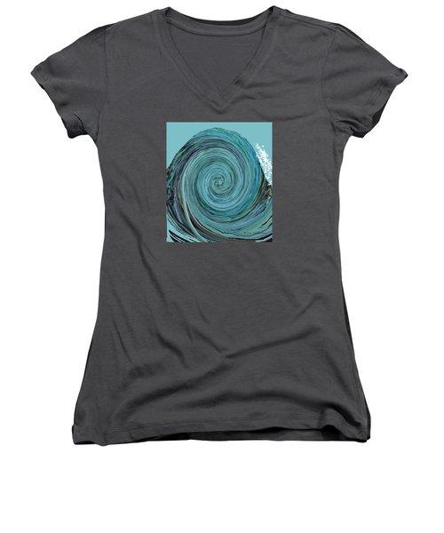Digital Curl Women's V-Neck T-Shirt (Junior Cut) by Joan Hartenstein