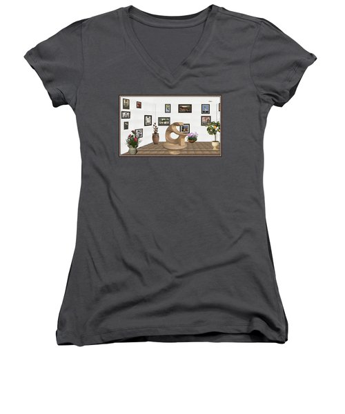 Women's V-Neck T-Shirt (Junior Cut) featuring the mixed media digital exhibitartion _Statue of  girl by Pemaro