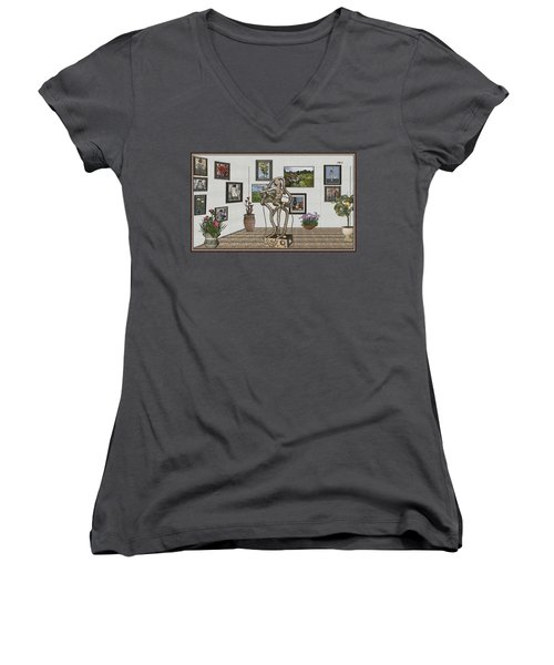 Women's V-Neck T-Shirt (Junior Cut) featuring the mixed media Digital Exhibition _ Modern  Statue 1   Of Dancing Girl by Pemaro