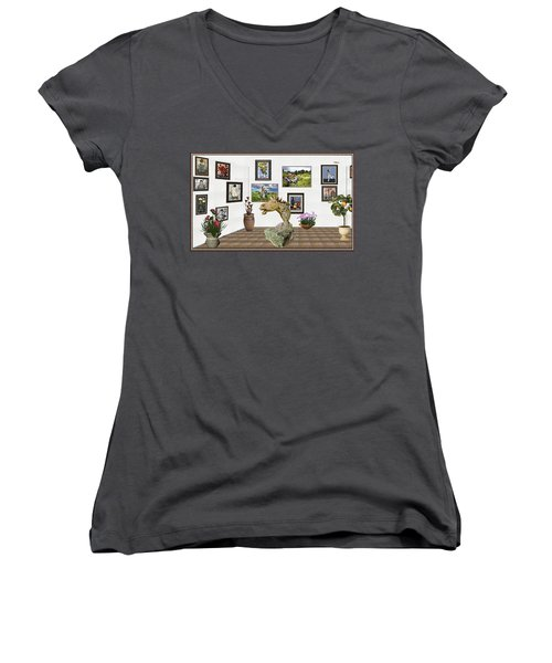 Women's V-Neck T-Shirt (Junior Cut) featuring the mixed media Digital Exhibition _  Sculpture Of A Horse by Pemaro