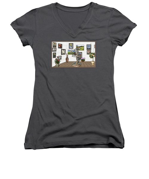 Women's V-Neck T-Shirt (Junior Cut) featuring the mixed media Digital Exhibition _ Statue Of Branches by Pemaro