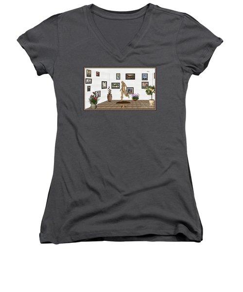 digital exhibition   sculpture of  posing  Girl 32  Women's V-Neck T-Shirt