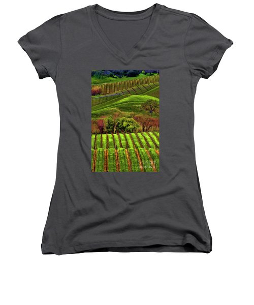 Enhanced Stunning Napa Valley Vineyards Vibrant  Women's V-Neck