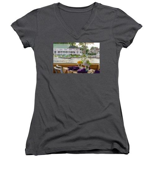 Dining Aboard The Miss Lotta Women's V-Neck T-Shirt (Junior Cut) by Maureen E Ritter