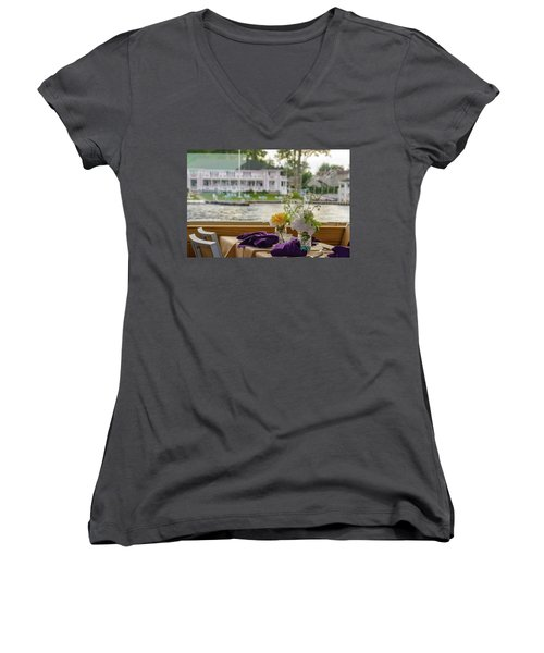 Dining Aboard The Miss Lotta Women's V-Neck T-Shirt