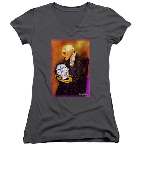 Dinner Is Served Women's V-Neck T-Shirt (Junior Cut) by Ted Azriel
