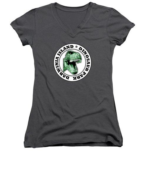 Dinosaur Park Women's V-Neck T-Shirt (Junior Cut) by Gaspar Avila