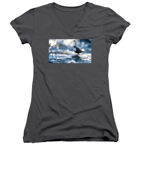 Dipper On Ice Women's V-Neck T-Shirt (Junior Cut) by Torbjorn Swenelius