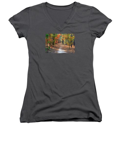 Autumn Scene Dirt Road Women's V-Neck T-Shirt