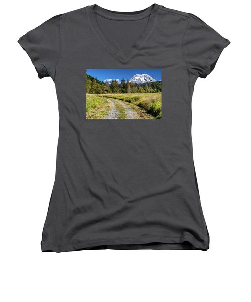 Dirt Road To Mt Rainier Women's V-Neck