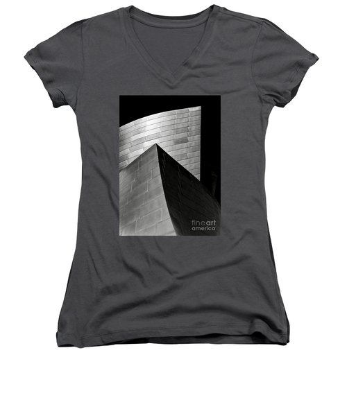 Disney Concert Hall Black And White Women's V-Neck (Athletic Fit)