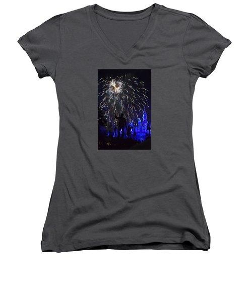 Disney Land Women's V-Neck T-Shirt (Junior Cut) by Alex King