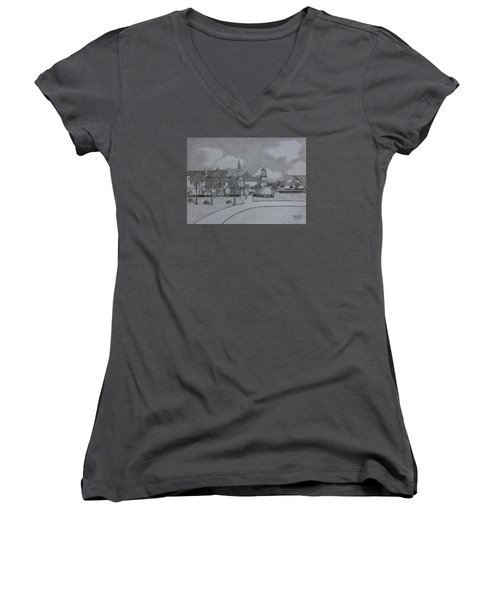Disney's  Caribbean Beach  Women's V-Neck T-Shirt (Junior Cut) by Tony Clark