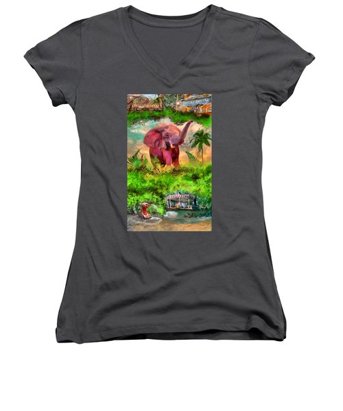 Disney's Jungle Cruise Women's V-Neck T-Shirt (Junior Cut) by Caito Junqueira