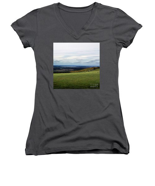 Distance Women's V-Neck T-Shirt (Junior Cut) by Sebastian Mathews Szewczyk
