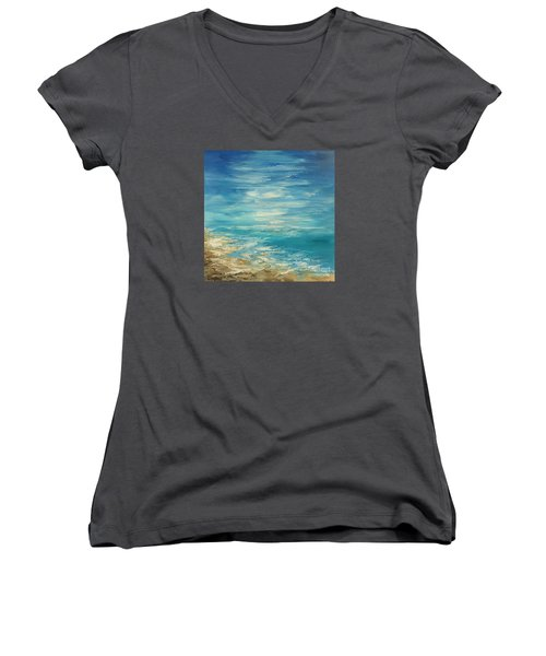 Women's V-Neck T-Shirt (Junior Cut) featuring the painting Distant Deluge by Tatiana Iliina
