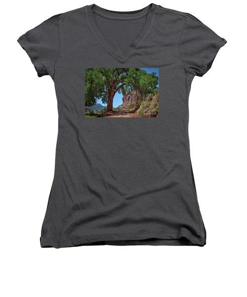 Distant Escalante Moon Women's V-Neck T-Shirt (Junior Cut) by Janice Rae Pariza