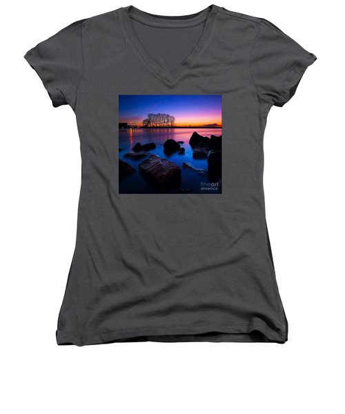 Distant Shores At Night Women's V-Neck T-Shirt (Junior Cut) by Rod Jellison